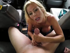 Blonde with massive jugs and shaved twat is good on her way to satisfy her bang buddy with her sweet mouth