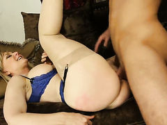Blonde Nina Hartley with juicy butt and clean beaver has a good time playing with dudes cum loaded cock