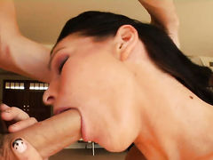 Brunette gives unthinkable oral pleasure to horny