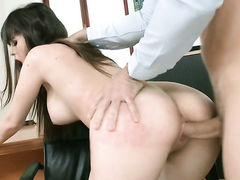 Brunette with massive melons gets slammed by hot dude the way she loves it