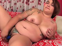 Fat Cutie Satisfies Herself with Fingers and Toys