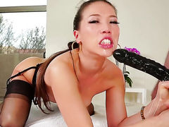 Kalina Ryu getting mouth fucked ferociously by Jonni Darkko