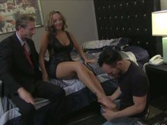 Big tits wife Richelle Ryan with stunning legs bares her