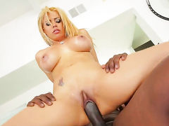 Lexington Steele with gigantic hooters takes dudes throbbing pole deep down her throat
