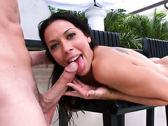 Brunette Valerie Kay with huge knockers and smooth pussy