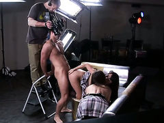 Brunette hooker Marica Hase takes guys cum loaded rod in her twat in interracial sex action