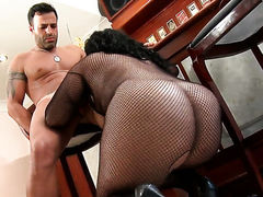 Mature chachita with gigantic knockers and trimmed pussy spends her sexual energy with hard meat stick in her mouth