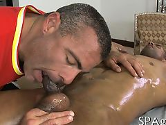 Hairy guy gets a lusty anal spooning from masseur