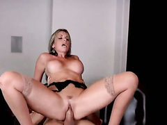 Blonde Courtney Cummz with massive breasts is dangerously horny in this cum flying action