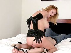 Blonde Krissy Lynn satisfies her sexual needs and desires with hot dude