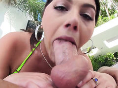 Brunette Valentina Nappi with big ass just loves to blow and cant say No to her hard cocked bang buddy