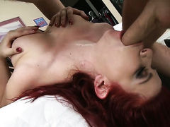Sarah Blake with gigantic boobs asks James Deen to insert his sausage in her mouth