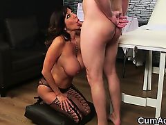 Wacky model gets cumshot on her face gulping all the load