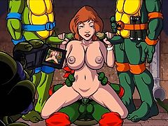 Sexy Redhead MILF has sex with 3 turtles(cartoon)