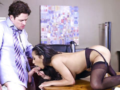 Brunette sex kitten with massive breasts makes mans sexual fantasies cum true in interracial hardcore action