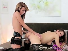 StrapOn Gina Devine and Eufrat classic Czech lesbian sex with sex toys