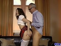 Masturbating eurobabe wanks old british bloke