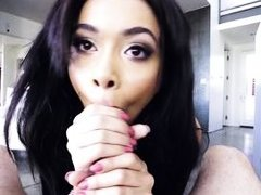 aaliyah hadid is trying to put my dick in her mouth almost completely