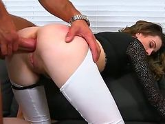 Skinny MILF in black top and bottomless white leggings begs for anal after cock sucking, She gives