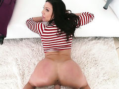 Brunette Kendra Lust with juicy boobs gives deep blowjob