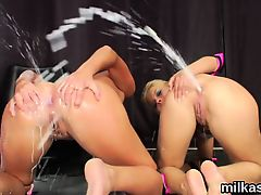 Horny lesbos fill up their monster asses with whipped cream