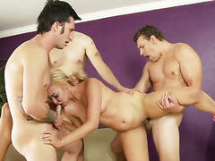 Tinslee Reagan gets her mouth fucked silly by sex starved Jerry after anal sex