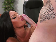 Elicia Solis with juicy breasts shows off her hard clit as she gets rammed by Clover