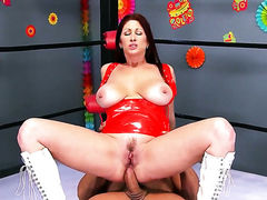 Tiffany Mynx with juicy jugs fucking like a