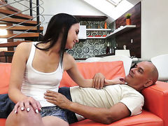 Brunette and a lucky guy enjoy oral sex they will never forget