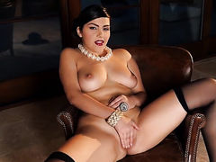 Valentina Nappi touches her breasts playfully
