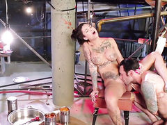 Bonnie Rotten with juicy tits plays with her bush