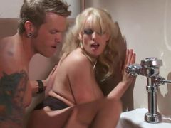 Fine looking big boobed blonde MILF Stormy Daniels gives suck