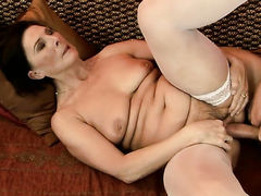 With giant breasts shows her cock sucking skills