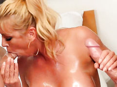 Blonde Alexis Fawx with juicy boobs makes her fuck buddy explode