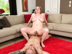 Blonde Maggie Green with giant hooters and trimmed cunt enjoys sex too much to stop