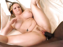 Blonde Aiden Starr with big ass enjoys interracial hard fucking with her fuck buddy too much to stop