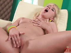 Blonde oriental Tracy Gold with tiny tities and