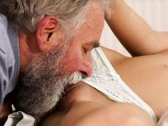 before his dick is not hard enough, this old man uses his finger