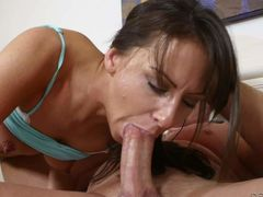 Eager brunette Kendra Khalessi sucks hit dude's stiff thick cock