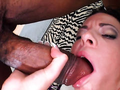 Blonde beating mans meat