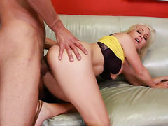Blonde Lexi Swallow with giant breasts and clean