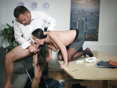 Brunette Mea Melone with gigantic boobs enjoys hardcore sex