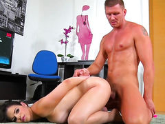 Brunette Nekane with massive breasts and Marc Rose have oral
