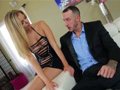 Long haired blonde Trisha Parks in see through black mini