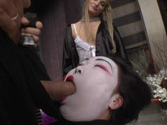Asian slut Nicoline gets her white face fucked in deep