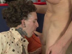 Curly haired guy with tattoos gets face fucked by blonde