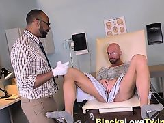 Black doctor spunks hunk