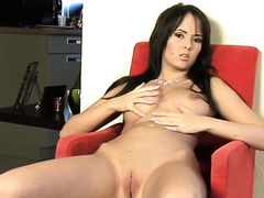 Lustful porn girl Angel Kiss plays with her soaking