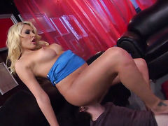 Blonde Katie Summers is horny as hell and fucks herself with toy with wild desire