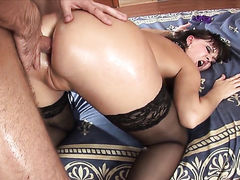Anastasia II does striptease before masturbating with desire
